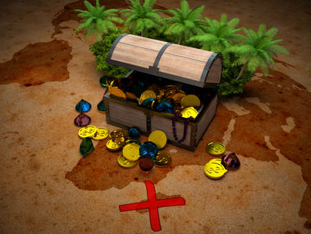 corall: treasure chest and map with a red cross