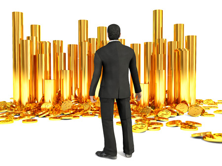 Successful businessman and pile of dollar gold coins photo
