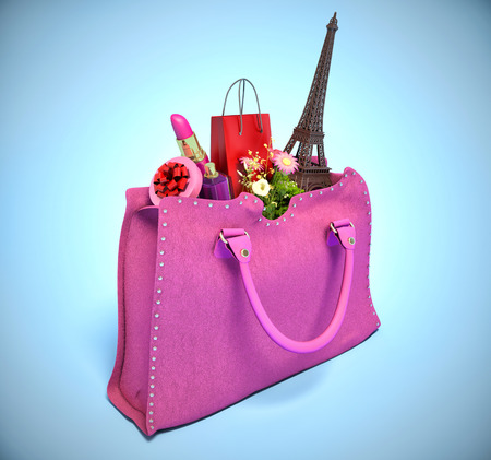 shopping bag and the Eiffel Tower in handbags. concept of shopping photo