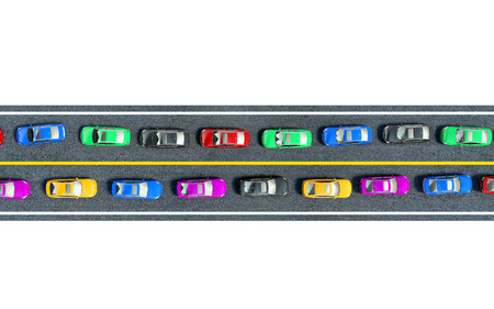 car side view: colored cars are in traffic, top view Stock Photo