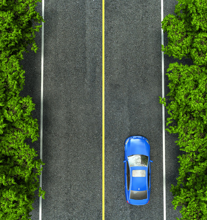 of view: blue car on the road, the view from the top