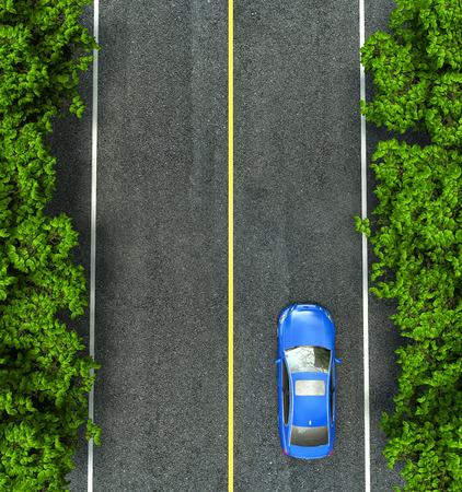 arbre vue dessus: voiture bleue sur la route, la vue depuis le sommet