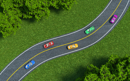 arbre vue dessus: voitures sur la route, la vue depuis le sommet
