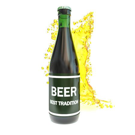 green beer bottle: green beer bottle with splash