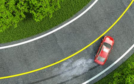 frenos: coche rojo entra en el turn con patín. Foto de archivo