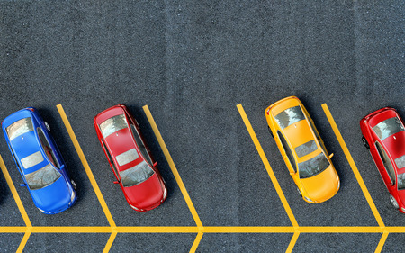hilera: Coches estacionados en el aparcamiento. Uno de los lugares es gratis Foto de archivo