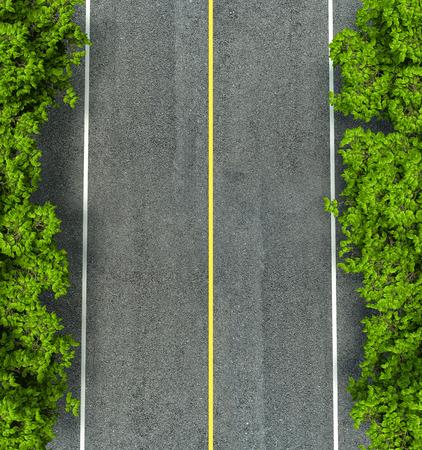 道路のアスファルト道路のテクスチャ、黄色と白ライン 写真素材