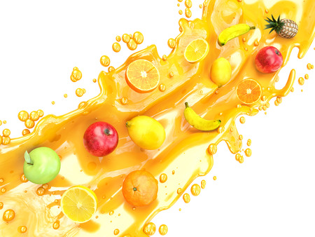 the juice: Different fruits and juice splashes. multifruit juice
