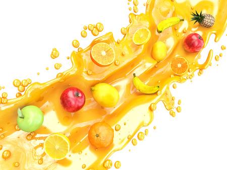 owoców: Różnych owoców i odpryskami soku. sok wieloowocowy