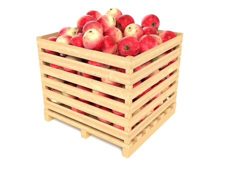 red apples: Red apples in the wooden crate