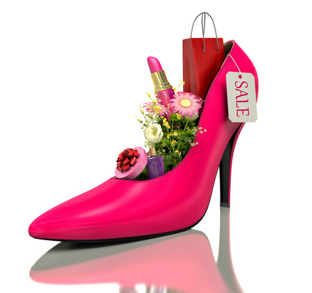 comprando zapatos: compra y flores dentro de los zapatos
