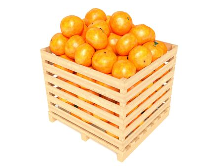 clementines: Clementines in container. Isolated against white background Stock Photo