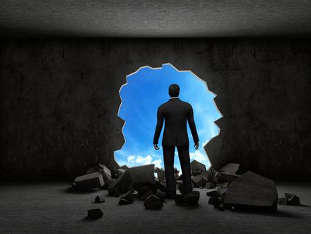 trough: business man breaking trough a wall