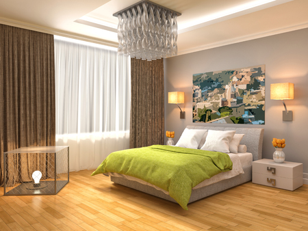 loft interior: Bedroom interior. 3d illustration
