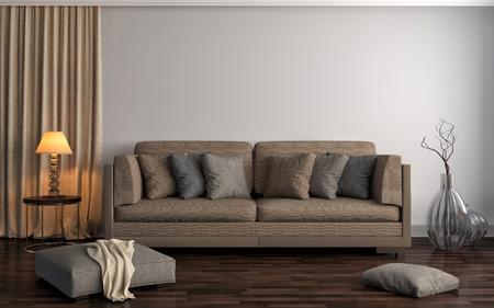 interior with brown sofa. 3d illustration Archivio Fotografico