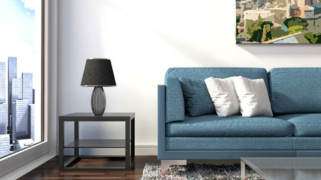 blue grey: interior with blue sofa. 3d illustration