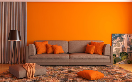 orange: interior with brown sofa. 3d illustration Stock Photo