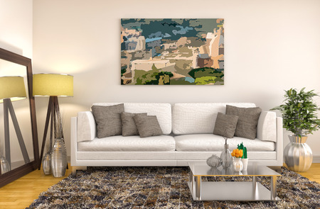 room decorations: interior with white sofa. 3d illustration
