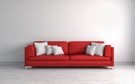 modern sofa: interior with red sofa. 3d illustration