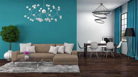 interior walls: interior with brown sofa. 3d illustration Stock Photo