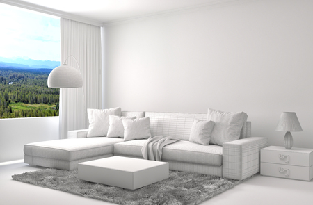 seating furniture: interior with sofa and CAD wireframe mesh. 3d illustration Stock Photo