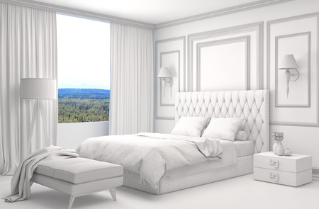 building planners: Bedroom interior with CAD wireframe mesh. 3D Illustration Stock Photo