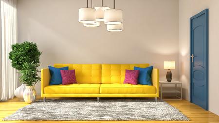 room decor: interior with yellow sofa. 3d illustration