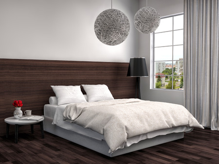 bedsheets: bedroom with wood trim. 3d illustration Stock Photo