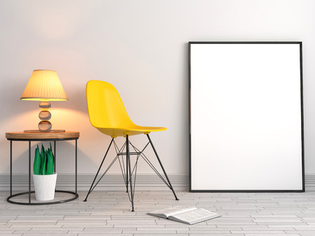 mocks: mock up poster frames with chair background, 3D illustration Stock Photo
