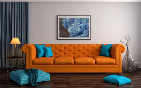 sofa: interior with orange sofa. 3d illustration Stock Photo