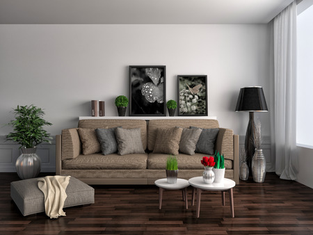 front room: interior with brown sofa. 3d illustration Stock Photo