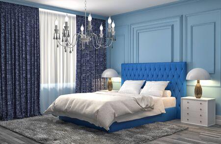 chambre à coucher: Intérieur de la chambre. 3d illustration Banque d'images