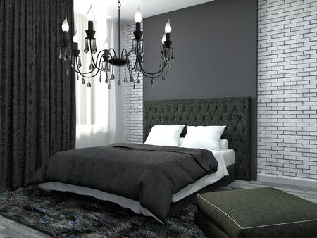 bedroom: Bedroom interior. 3d illustration