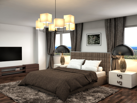 modern bedroom: Bedroom interior. 3d illustration