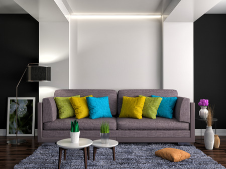 sofa: interior with brown sofa. 3d illustration Stock Photo