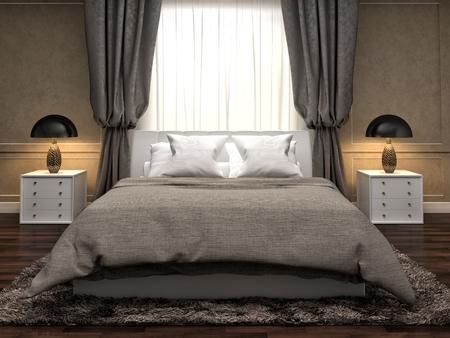 bed room: Bedroom interior. 3d illustration