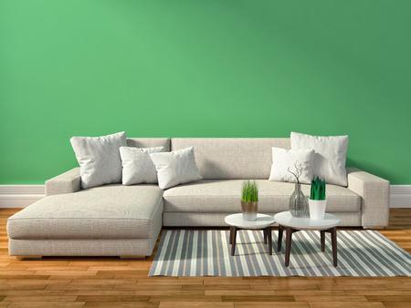 modern sofa: interior with brown sofa. 3d illustration Stock Photo