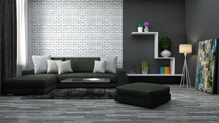 interior with brown sofa. 3d illustration Foto de archivo