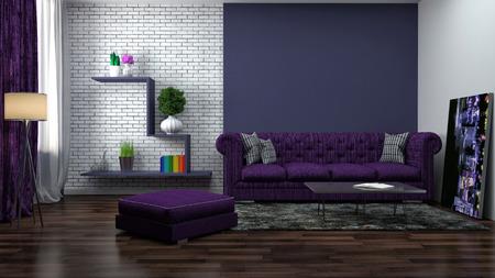 morado: interior con sofá morado. 3d ilustración Foto de archivo