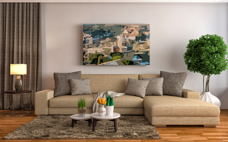 room wall: interior with brown sofa. 3d illustration Stock Photo