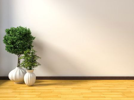 rendering: white interior with plant. 3D illustration