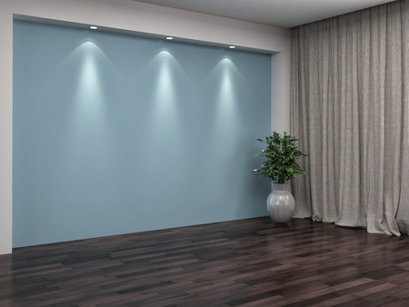 unfurnished: Empty room with curtains. 3d illustration Stock Photo
