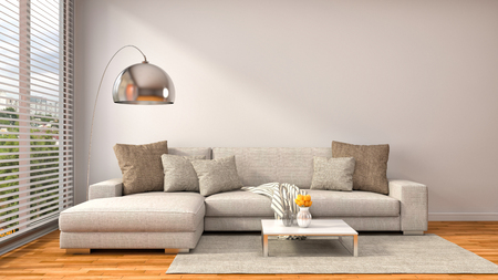 interior with brown sofa. 3d illustration Фото со стока