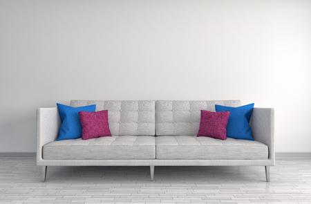 furniture design: interior with white sofa. 3d illustration