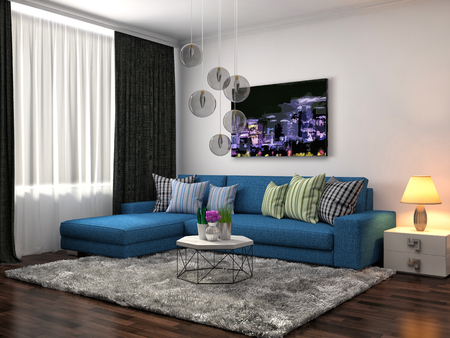 sofa: interior with blue sofa. 3d illustration