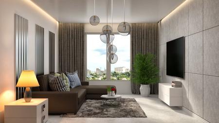 interieur met bruine bank. 3D illustratie