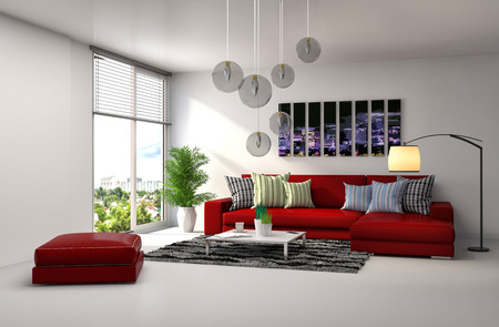 red pillows: interior with red sofa. 3d illustration