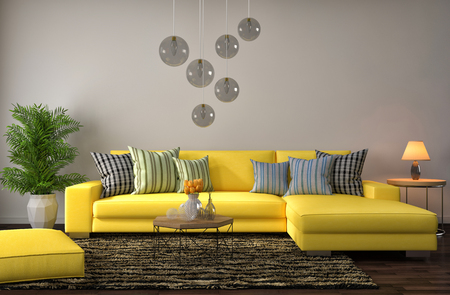 sofa: interior with yellow sofa. 3d illustration