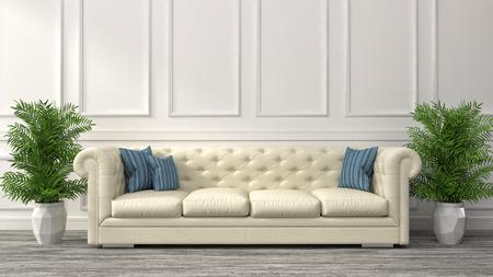 interieur met witte bank. 3D illustratie