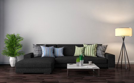apartment interior: interior with black sofa. 3d illustration